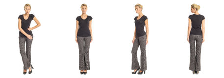 Young sexy blond woman in gray trousers isolated. Young sexy blond woman in gray trousers Royalty Free Stock Images