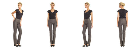 Young sexy blond woman in gray trousers isolated. Young sexy blond woman in gray trousers Royalty Free Stock Photo