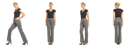 Young sexy blond woman in gray trousers isolated. Young sexy blond woman in gray trousers Stock Images