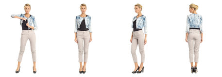 Young sexy blond woman in jeans jacket isolated Royalty Free Stock Photos