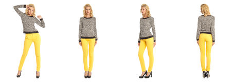 Young sexy blond woman in leopard pullover isolated Royalty Free Stock Image