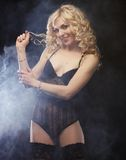 Young sexy blond woman in  lingerie Stock Photography