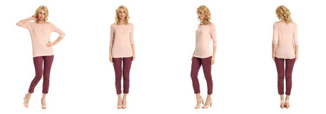 Young sexy blond woman in pink blouse isolated. Young sexy blond woman in pink blouse Stock Photography