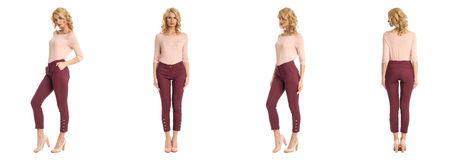 Young sexy blond woman in pink blouse isolated. Young sexy blond woman in pink blouse Royalty Free Stock Photography