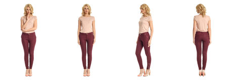 Young sexy blond woman in pink blouse isolated. Young sexy blond woman in pink blouse Royalty Free Stock Image