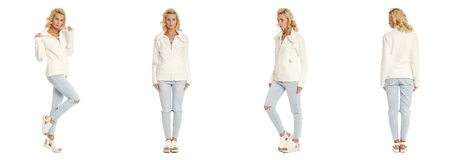 Young sexy blond woman in white jacket isolated. Young sexy blond woman in white jacket Royalty Free Stock Images