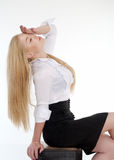 Young sexy blond woman in white shirt. Posing over white background.It is not isolated Royalty Free Stock Photo