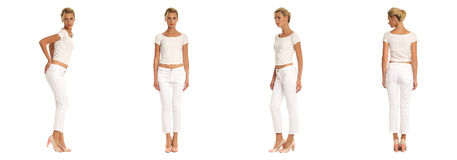 Young sexy blond woman in white shirt isolated. Young sexy blond woman in white shirt Stock Photo