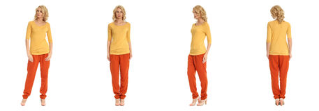 Young sexy blond woman in yellow blouse isolated. Young sexy blond woman in yellow blouse Royalty Free Stock Image