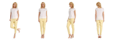 Young sexy blond woman in yellow trousers isolated. Young sexy blond woman in yellow trousers Stock Images