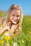 Young  Sexy  blonde   on  meadow with camomile Royalty Free Stock Photography