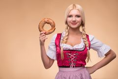 Young sexy blonde wearing dirndl Royalty Free Stock Photo