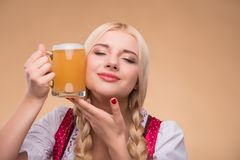 Young sexy blonde wearing dirndl Royalty Free Stock Image