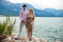 Young blonde woman and man at romantic date at vacation. Young blonde women and men at romantic date at vacation royalty free stock images