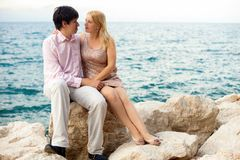 Young blonde woman and man at romantic date at vacation. Young blonde women and men at romantic date at vacation royalty free stock photos