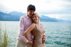 Young blonde woman and man at romantic date at vacation. Young blonde women and men at romantic date at vacation stock photos