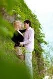 Young blonde woman and man at romantic date at vacation. Young blonde women and men at romantic date at vacation royalty free stock photography