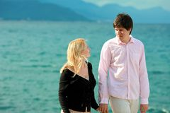 Young blonde woman and man at romantic date at vacation. Young blonde women and men at romantic date at vacation stock images