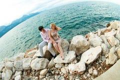 Young blonde woman and man at romantic date at vacation. Young blonde women and men at romantic date at vacation stock photo