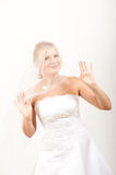 Young sexy bride in white wedding dress with veil Royalty Free Stock Photos