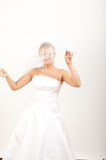 Young sexy bride in white wedding dress with veil Stock Photos