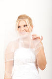 Young sexy bride in white wedding dress with veil Royalty Free Stock Images