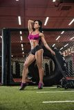 A young brunette, an athlete bodybuilder, in a modern gym, Royalty Free Stock Images