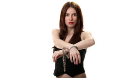 Young sexy brunette in handcuffs Royalty Free Stock Photo