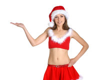 A young and sexy brunette in a Santa suit Royalty Free Stock Photography