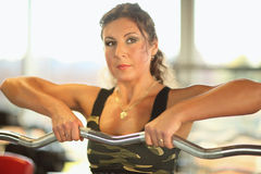 Young sexy brunette woman gym doing biceps exercise with barbell. Young sexy brunette woman in the gym doing biceps exercise with barbell. gym Royalty Free Stock Image