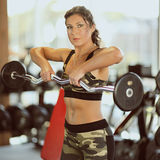 Young sexy brunette woman gym doing biceps exercise with barbell. Young sexy brunette woman in the gym doing biceps exercise with barbell. gym Royalty Free Stock Images