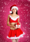 A young and sexy brunette woman in Santa clothes Royalty Free Stock Images