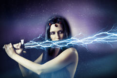 Young brunette woman. storm. stock photo