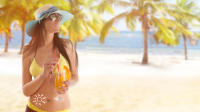 Young sexy brunette in yellow swimsuit Royalty Free Stock Photos
