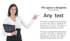 A young and business woman with a book stock photos