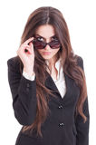 Young and sexy business woman wearing shades Stock Image