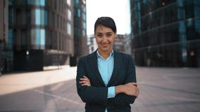 Young businesswoman portrait stock footage