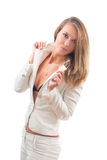 Young sexy businesswoman in white suit Royalty Free Stock Photography