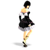 Young cartoon girl in gothic clothes vector illustration