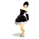 Young cartoon girl in gothic clothes Royalty Free Stock Photography