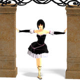 Young sexy cartoon girl in gothic clothes Royalty Free Stock Image