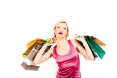 Young sexy casual shopping woman with bags Stock Photography
