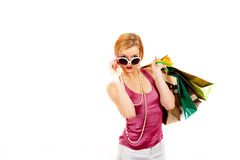 Young sexy casual shopping woman with bags Stock Image