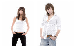 Young sexy couple. A studio view of a young, casual, sexy couple Royalty Free Stock Photo
