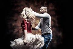 Young couple dances Caribbean Salsa royalty free stock photo