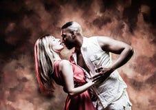 Young and couple dances Caribbean Salsa royalty free stock photos