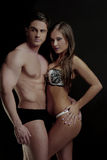Young Sexy Couple Posing for Underwear Fashion Royalty Free Stock Photos