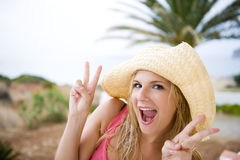 Young crazy summer woman having fun Stock Photo