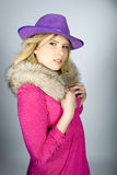 Young sexy elegant woman with animal fur Royalty Free Stock Photos