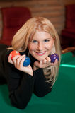 Young sexy girl with billiard balls Royalty Free Stock Images